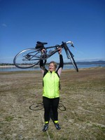 Jean Jackman celebrates a fine day on the bike